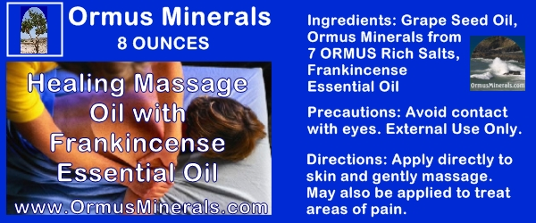 Ormus Minerals Healing Massage Oil With Frankincense Essential Oil
