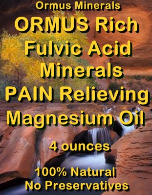 Ormus Minerals -Ormus Rich Fulvic Aci Mineerals Pain Relieving Magnesium Oil