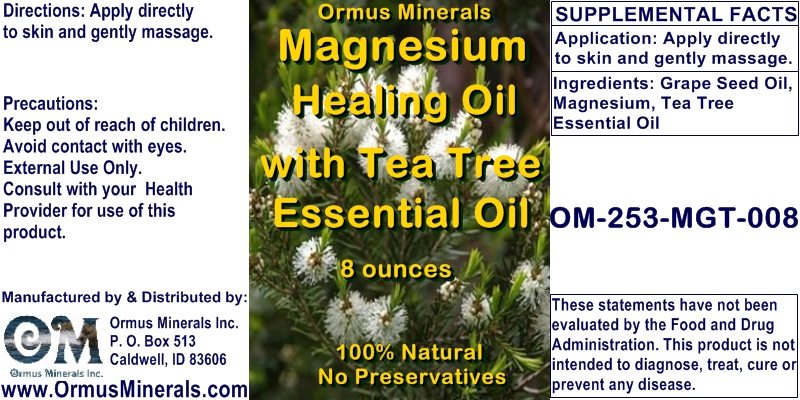 Ormus Minerals - Magnesium Healing Oil with TEA TREE Essential Oil